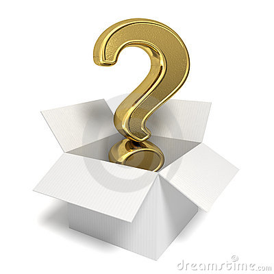 Gold question mark in a box