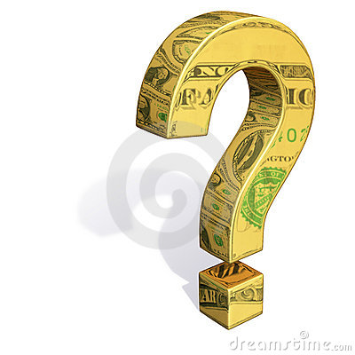 Gold Question Mark Reflecting Dollar Bills