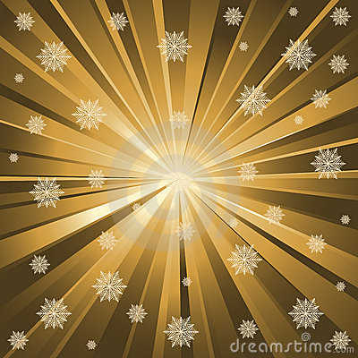Gold rays and snowflakes