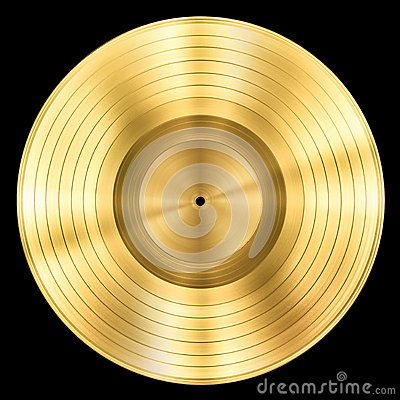Gold Record Music Disc Award Isolated Royalty Free Stock