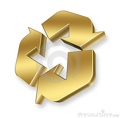 Free Gold Recycle Symbol Stock Photography - 16786592