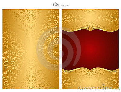 Gold and red abstract background, front and back