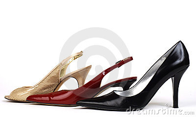 Gold, Red, and Black Women s High-Heel Shoes