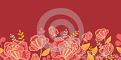 Gold and red flowers horizontal seamless pattern