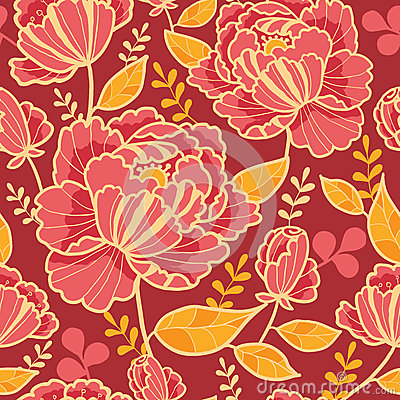 Gold and red flowers seamless pattern background
