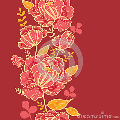 Gold and red flowers vertical seamless pattern