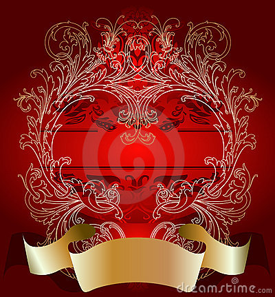 Gold On Red Valentine Day Card Background