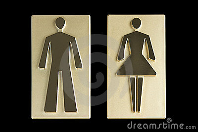 Gold restroom signs