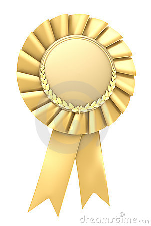 Gold Ribbon Award Blank With Copy Space Royalty Free Stock