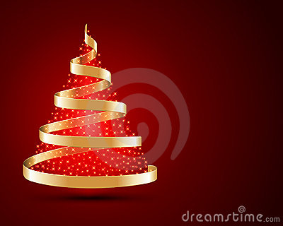 Gold ribbon Christmas tree