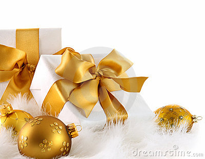 Gold ribbon gifts with christmas balls