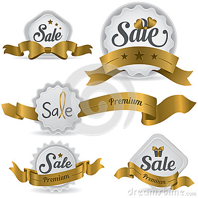 Gold ribbon glossy sale badges with various shape