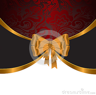 Gold Ribbon On Red Ornament Royalty Free Stock Image - Image: 25501956