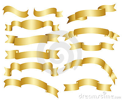 Gold ribbons, banners collection