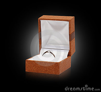 Gold ring with diamond in box