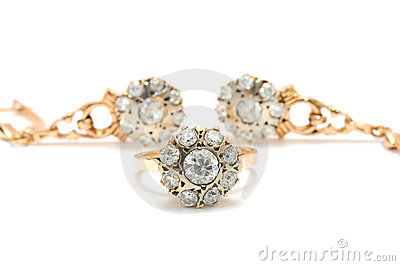 Gold Ring And Earrings With Diamonds Stock Images - Image: 17562694
