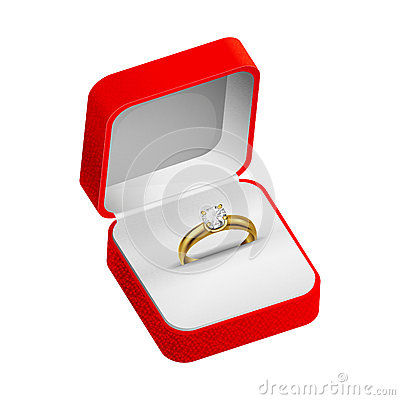 Gold ring  in a red box