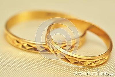 Gold rings macro
