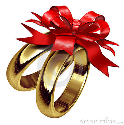 Gold rings with red bow and ribbon