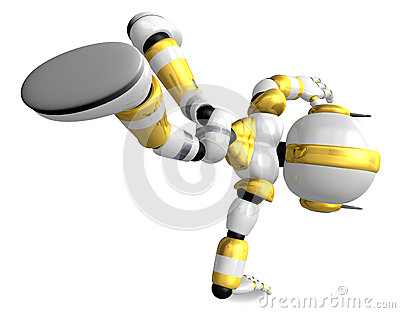 Gold Robot Character dancing is an intense dance with one arm. C