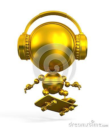 Gold robot skateboarder in headphones