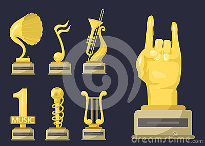 Gold rock star trophy music notes best entertainment win achievement clef and sound shiny golden melody success prize Vector Illustration