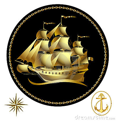 Free Gold Sailing Ship Royalty Free Stock Image - 2581106