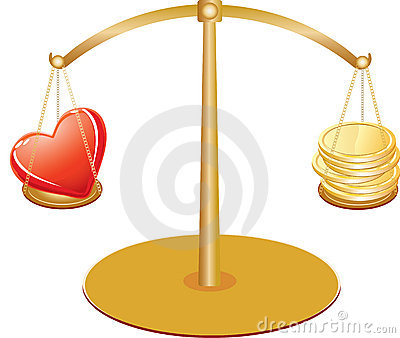 Gold scales with heart and money