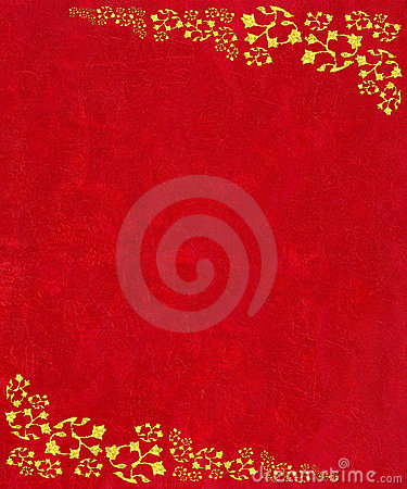 Gold scroll corners on red textured background