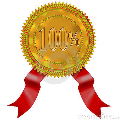 Gold seal with red ribbon 100