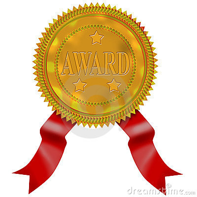 Gold seal with red ribbon award
