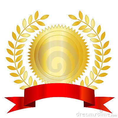 Gold seal red ribbon and laurel