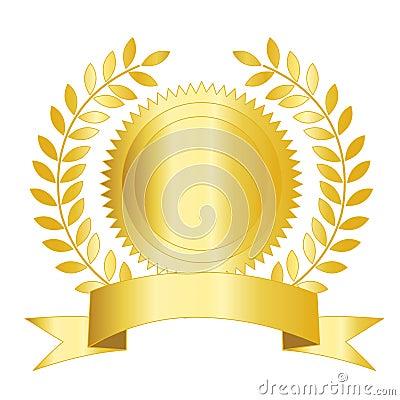 Gold seal ribbon and laurel
