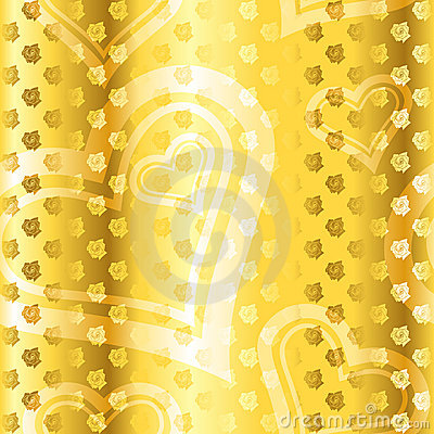 Gold seamless rose-and-heart pattern