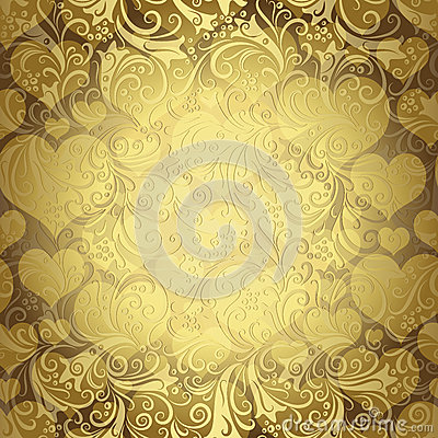 Free Gold Seamless Valentine Pattern Royalty Free Stock Images - 34015369