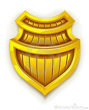 Gold shield symbol of safety and protection