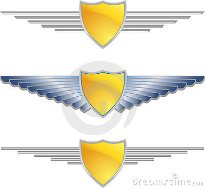 Free Gold Shield Wings Royalty Free Stock Photos - 9488798