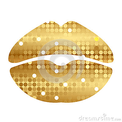 Gold shiny lips
