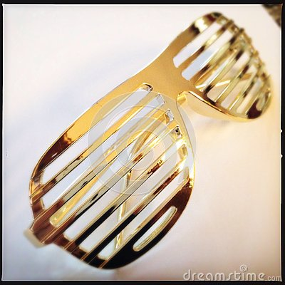 Free Gold Shutter Or Louver Glasses Royalty Free Stock Images - 43026549