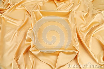 Gold silk drapery.