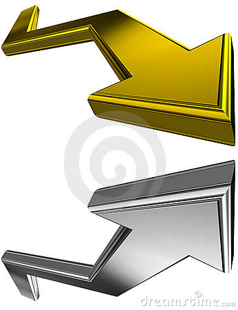Gold and silver 3D arrows