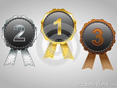 Gold, Silver and Bronze award badges