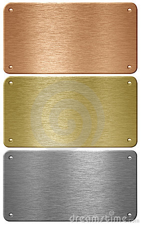 Gold, silver, bronze metal plates isolated