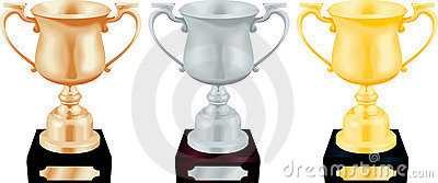 Gold Silver And Bronze Trophy  Royalty Free Stock Image - Image: 4960646