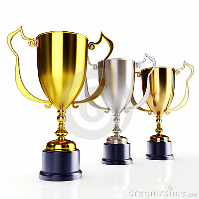 Gold silver and bronze trophy s