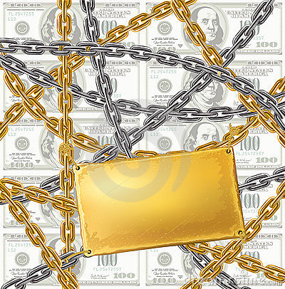Gold and silver chain protecting money