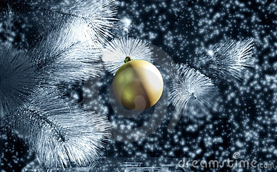 Gold silver christmas bauble