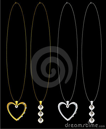 Gold and silver heart and diamond necklaces