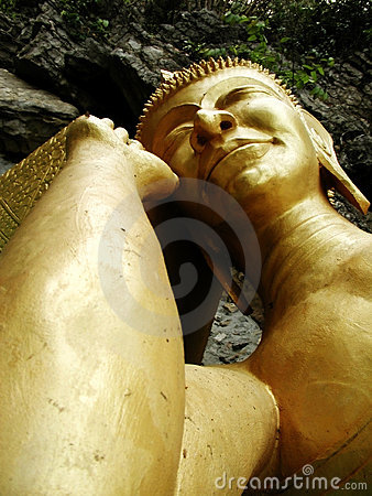 Gold Sleeping Buddha Stock Photo
