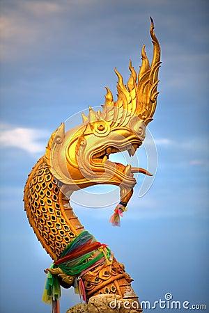 Gold Snake Statue